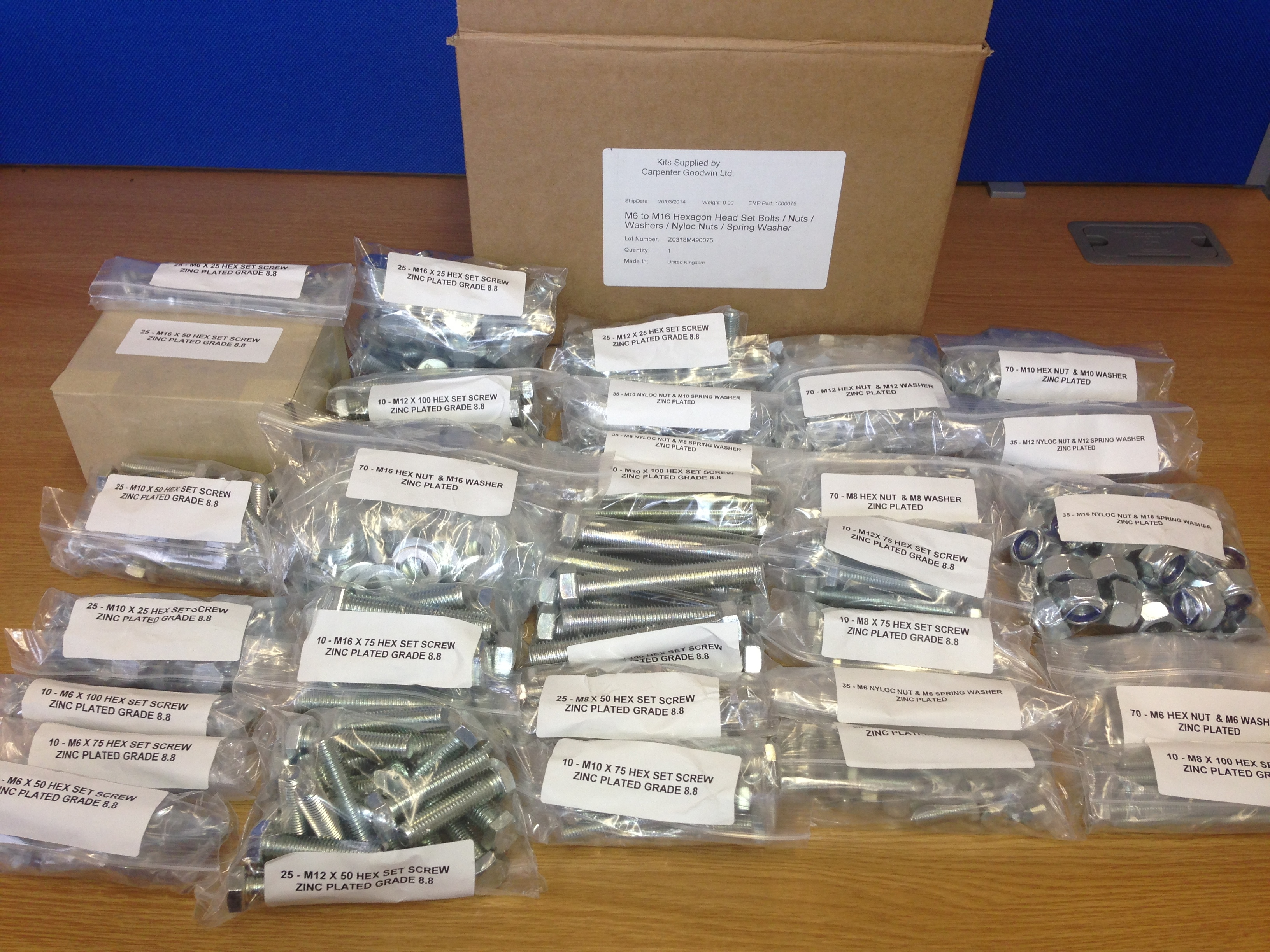 M6 - M16 Nut and Bolt Kit