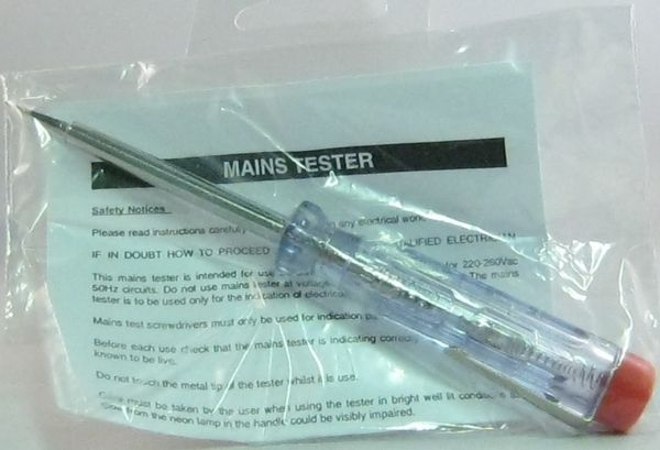 424802 Small mains voltage test screwdriver