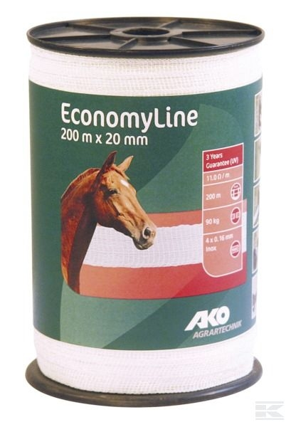 44556 Polytape White 20mm - 200M Equestrian use