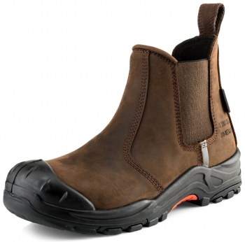Nubuckz Safety Slip-on Dealer Safety Boot Brown