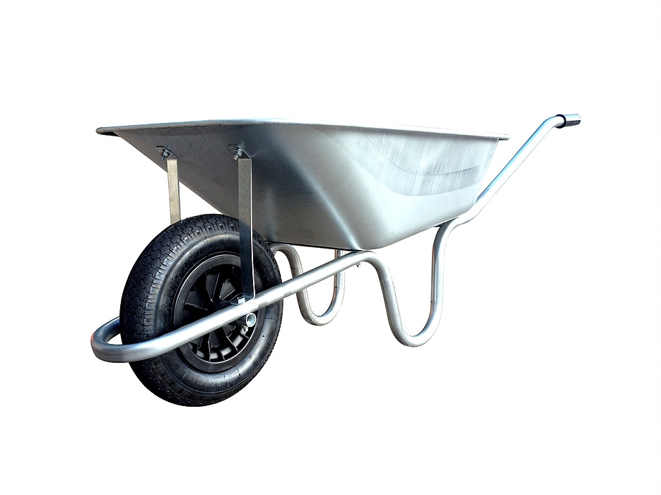 ANVGLPP Galv Wheelbarrow 90LTR Puncture Proof Wheelbarrow