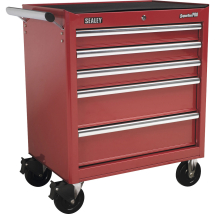 Rollcab 5 Drawer with Ball Bearings-Red