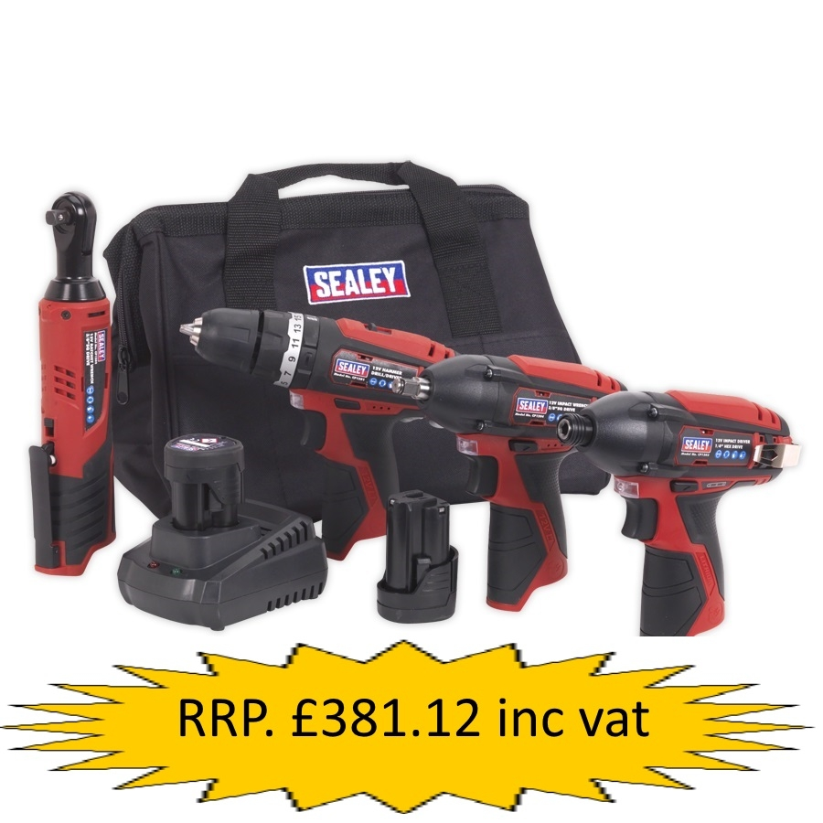 CP1200Combo Sealey 4 x 12V Cordeless Tool Combo Kit