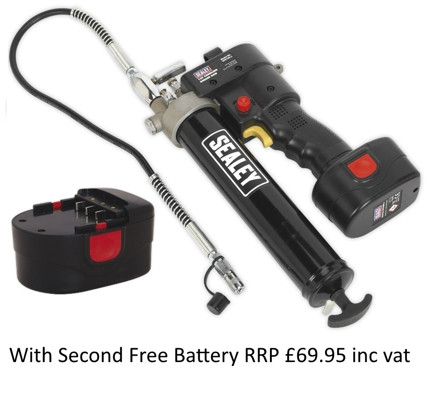 CPG12VFreeBattery Sealey Cordless Grease Gun 12V With 2nd Free Battery