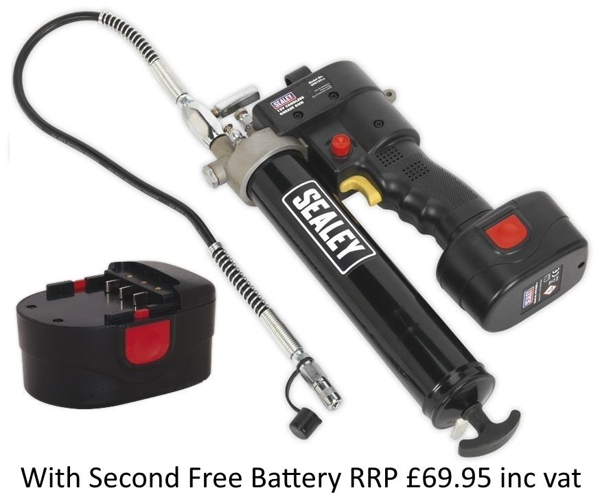 CPG18V Sealey Cordless Grease Gun 18V with 2nd free battery
