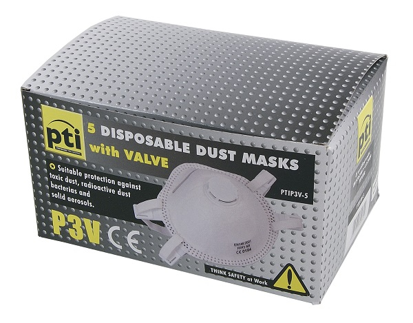 PTI P3 Valved Dust Mask Box 5