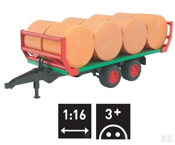 U02220 Roundbale trailer with 8 bales 1:16 scale