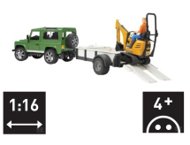 U02593 Bruder Land Rover with trailer with digger